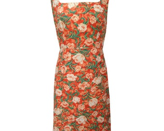 1950s orange floral print vintage shift wiggle dress