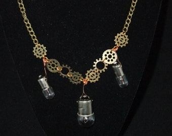 3-Light Bulb Steampunk Necklace