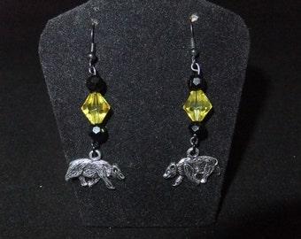 Yellow & Black Hufflepuff Earrings - H2