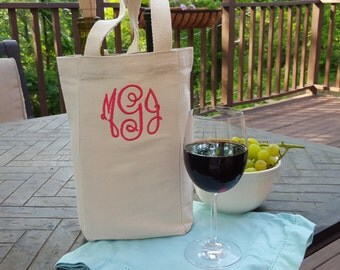 Monogrammed Canvas Double Wine Tote