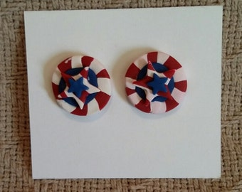 Stars and Stripes Earrings / Perfect for the 4th of July / Polymer Clay Earrings / Independance Day Jewelry / Fourth of July