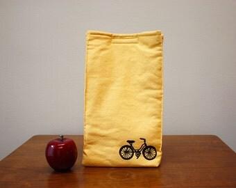 Bike Print Organic Cotton Insulated Lunch Bag-Yellow