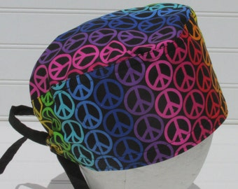Peace sign surgical scrub hat, scrub hat, chemo hat, cancer hat with a built in sweat band.  Handmade in the USA.