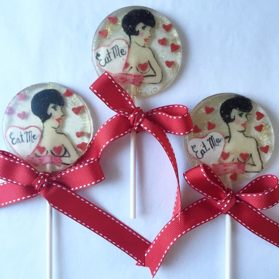 3 Naughty 1920's Flapper Cherry Marshmallow Flavored Lollipops