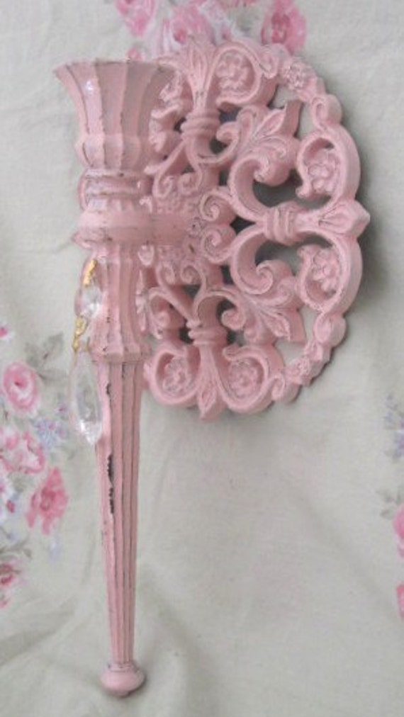 Shabby Pale Pink Wall Candle Sconce Fleur de Lis Chippy Chic