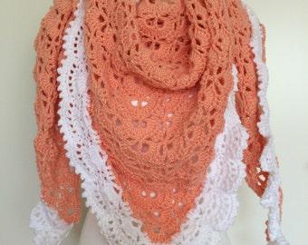 peach and white crochet shawl