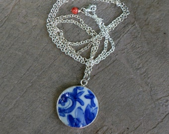 Long Silver Pottery Shard Necklace - Pendant Necklace -  Ready to Ship