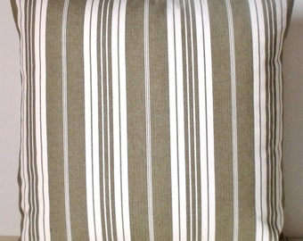 """French Vintage Taupe Ticking Stripe Huge Square 22"""" Cushion Pillow Coussin Cover"""