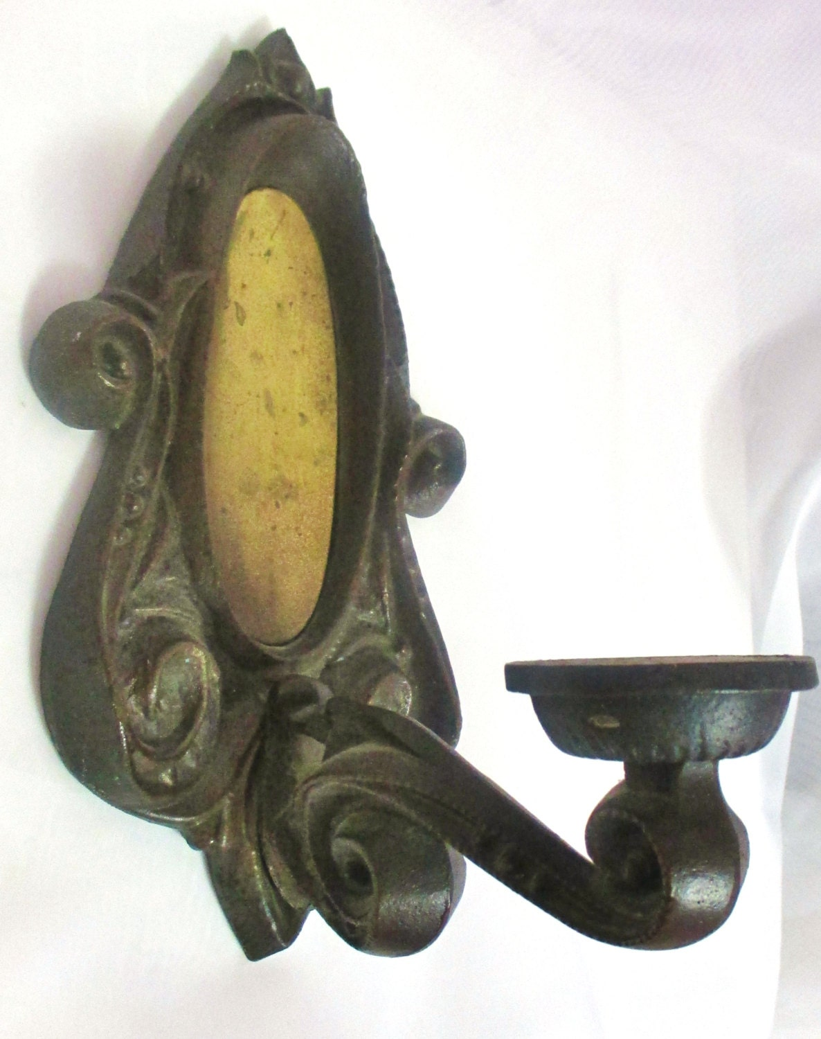 Iron Candle Holder Wall Sconce : Antique Cast Iron Wall Sconce Candle Holder/ by District66Antiques