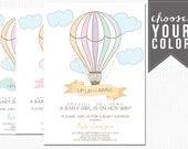 hot air balloon baby shower invitation, baby shower, baby girl, baby boy,  custom, printable