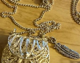 Dead Sea Clay Diffuser Medicine Bag Filagree Locket Clay- Essential Oil Diffuser