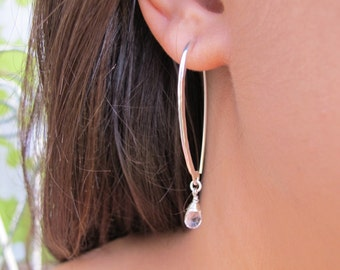 Curved Earrings. Handmade Sterling Silver Earrings set with Drop shaped Quartz gemstones. Delicate Curved Earrings. Transparent gemstones.