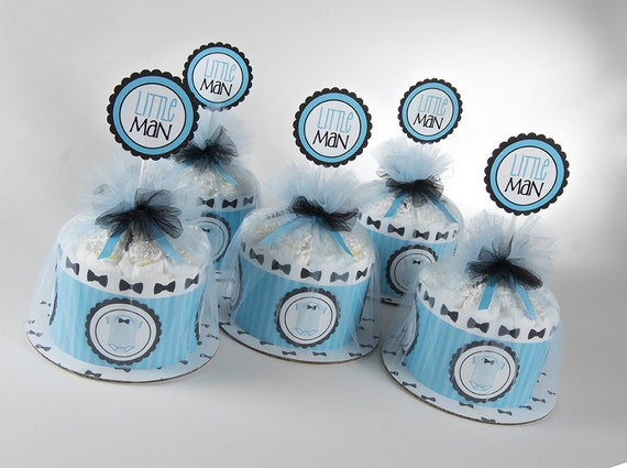 "Five ""Little Man"" Mini Diaper Cakes. Bow Tie & Onsies Theme. Baby Shower Centerpieces."