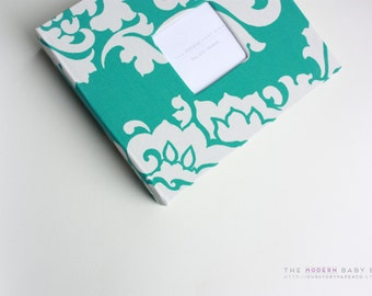 Free shipping. MODERN Baby Book //  Teal Floral Damask Cover // baby book. baby keepsake. memory book. baby shower gift