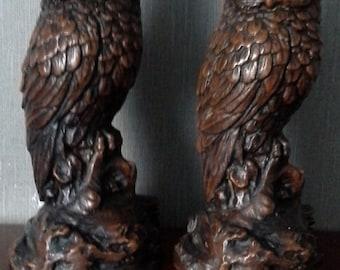 Pair of wooden look owls