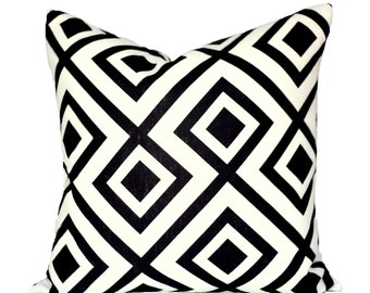 READY TO SHIP - 18x18 La Fiorentina Domino decorative pillow cover - 1 sided with black linen reverse