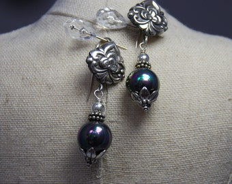 SALE  Stunning Sterling Silver Earrings with Blue-Green Shell Pearls