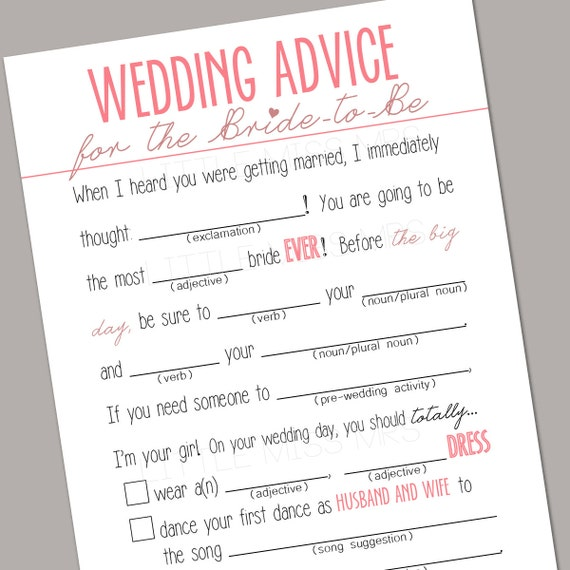 "Printable ""Wedding Advice"" Mad-lib Bridal Shower game (pink)"