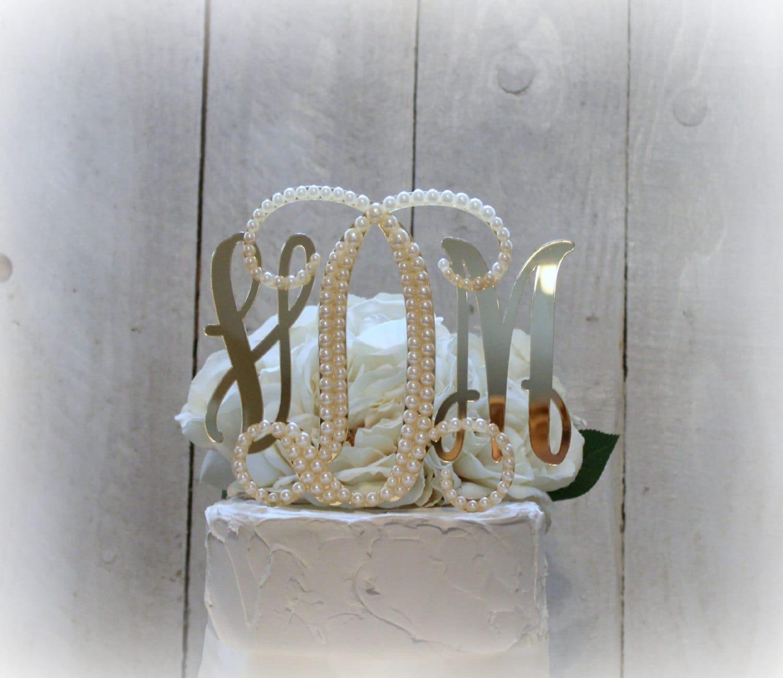 Pearl Monogram Wedding Cake Topper Vine Monogram by