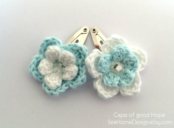 Crochet Hair Pins : Hair clips Barrette Accessories crochet children baby bridal Pins ...