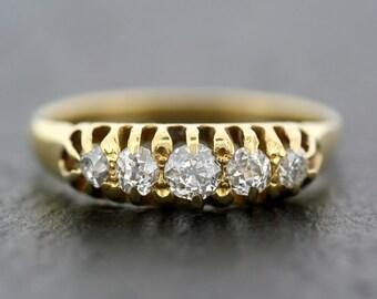 Antique Diamond Ring - Victorian Five-stone Diamond Ring 18ct Gold