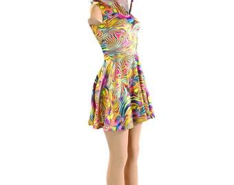 Tropical Swirl Sleeveless Hoodie Skater Dress  Lycra Spandex Clubwear Festival Rave 151036
