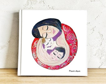 MOTHER and child illustration PRINTABLE wall art. Mother of two art print Mother gifts Expecting mom illustration mothers day