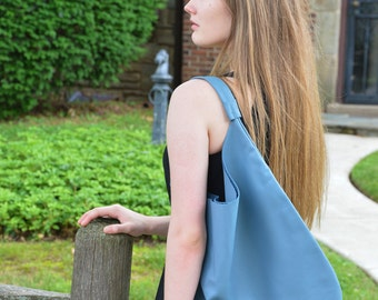 Large Leather Hobo Tote -  Sky Blue