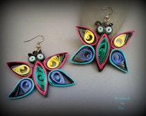 paper quilling colorful butterfly earrings, paper quilled earrings, colorful earrings, butterfly earrings, quilling jewelry, dangle earrings