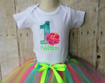 Girl's Birthday Tutu Set - Summer Birthday - First Birthday - Hawaiian - Luau - Hot Pink - Aqua - Lime Green - Applique - Embroidered