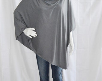 Steel Grey Poncho/ Lightweight Nursing Cover/ Nursing Shawl/ One shoulder Boho Top/ Lightweight Wrap/ New Mom Gift / Custom Womens Poncho