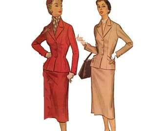 1950s Uncut McCall's 9685, Ladies' Suit, Size 18, Bust 38, Pocket Interest, Vintage Sewing Pattern