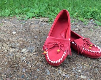 Vintage Red Leather Moccasins - Size 9