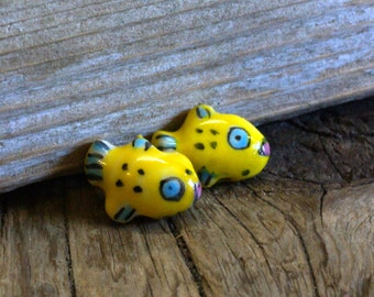 Porcelain Fish Beads - Yellow, Blue and Black - 18x13mm - Double Sided - Center Drilled - 4 beads
