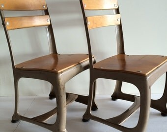 Vintage School Chair - 6 Available! - Charming Small Old School Decor - Honey Wood w Metal Frame - Cottage Nursery