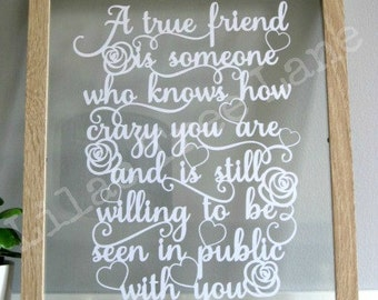 True friends paper cutting template, print and cut yourself. Commercial use papercutting template, Best friend template, Friendship template
