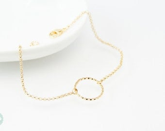 Karma bracelet, circle bracelet, gold bracelet, charm bracelet, gold chain bracelet, cute bracelet, friendship bracelet, gold chain
