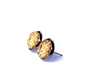 Glass sparkle earrings, Glass earrings, Sparkle jewelry, Sparkle stud earrings, Stud earrings, Small earrings, Post stud earrings