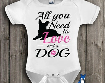 Cute baby Clothes, Baby Bodysuit, Al you need is love and a dog, baby clothes,T shirt, Dogs, by BlueFoxApparel_247