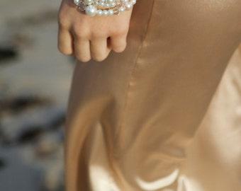Bracelet - CARLIE Pink & White Quad Wrap Bracelet