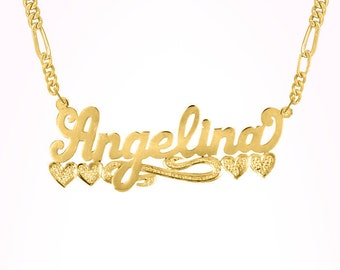 "Name Necklace w/beading ""Angelina"" (NP80052) gpss"