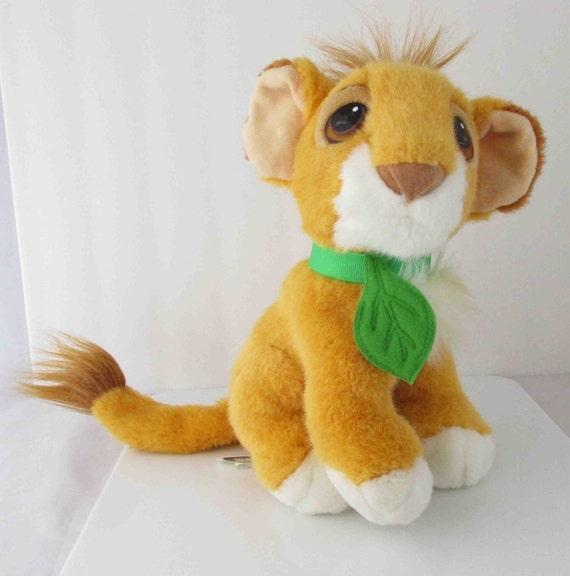 Simba Lion King Purring Plush Stuffed Toy Leaf Collar 1993