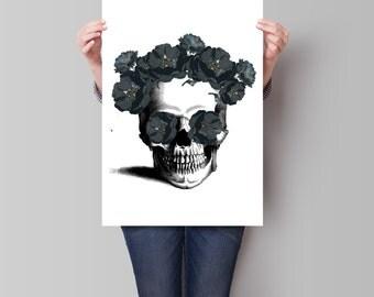 Sugar Skull Print, Skull Poster, Room Decor, Faux Gold Art Print, Wall Decor, Dorm Decor, Day of the Dead Poster, Art Print, Apartment