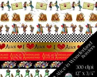 Alice In Wonderland Borders, Themed Digital Borders, 12 inch length, Digital instant download
