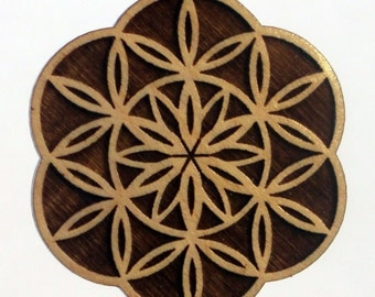 Blossoming Lasered Maple Wood Crop Circle Pendant