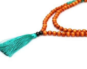Wooden Bead Mala Necklace - Prayer Necklace - Turquoise Tassel Necklace - Meditation Necklace - Yoga Necklace - Japa Mala - Tassel Jewelry