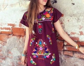 Mexican Mini Dress, ethnic, size XS, beautiful handmade embroidery, mini dress,  traditional tunic hippy