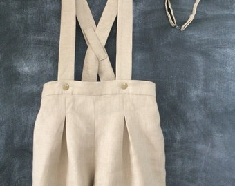 Pleated Linen Baby Shorts With Suspenders & Matching Bow Tie,  Baptism Shorts, Vintage Style Toddler Boy Shorts, Wedding Ring Bearer Shorts