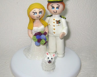 Custom wedding cake topper, Navy wedding cake topper, Marine cake topper