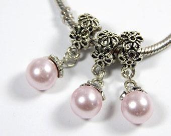1x Light Pink Pearl Drop Charm - Dangle Charm - Euro Charm - Euro Bead - Spacer